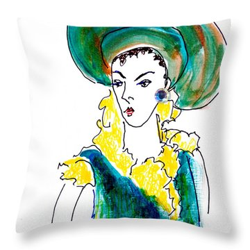 Hat Lady 16 Throw Pillow by Bettye  Harwell