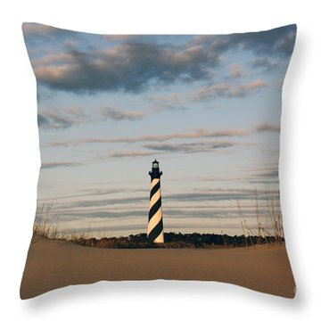 Hatteras Lighthouse And The Smiling Dune Throw Pillow by Tony Cooper