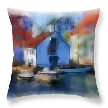 Haugesund Boat House Throw Pillow by Michael Greenaway