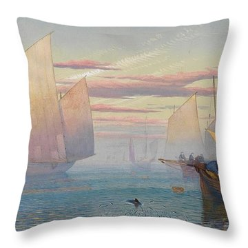 Hauling In The Nets Throw Pillow