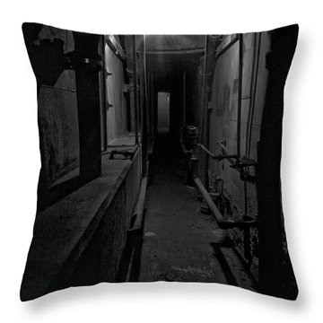 Haunted 1946 Battle Of Alcatraz Death Chamber Throw Pillow by Daniel Hagerman