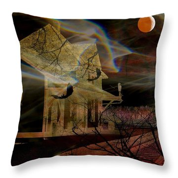 Haunted Evening Throw Pillow by Shirley Sirois