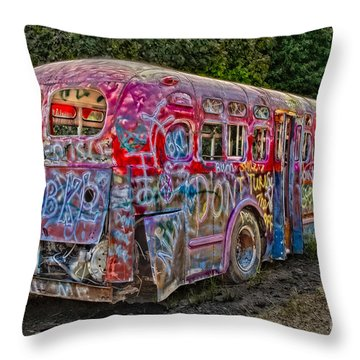 Haunted Graffiti Bus II Throw Pillow by Susan Candelario