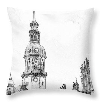 Hausmannsturm In Dresden Germany Throw Pillow by Christine Till