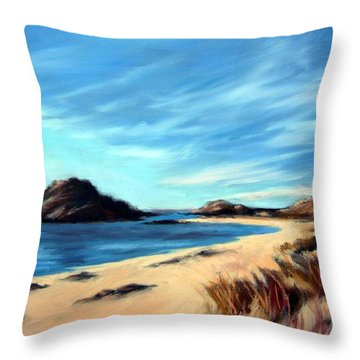 Throw Pillow featuring the painting Havik Beach by Janet King