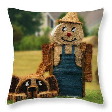 Hay Bale Farmer And Dog  Throw Pillow