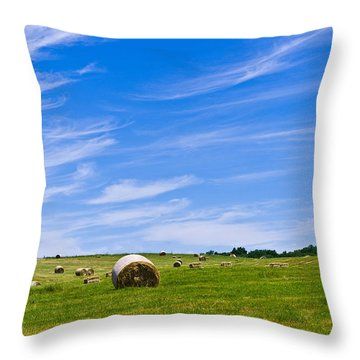 Hay Bales Under Brilliant Blue Sky Throw Pillow