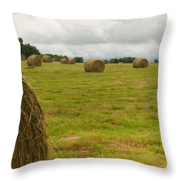 Haybales In Field On Stormy Day Throw Pillow by Douglas Barnett