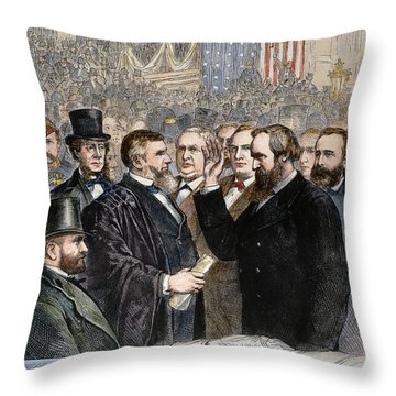 Hayes Inauguration Throw Pillow by Granger