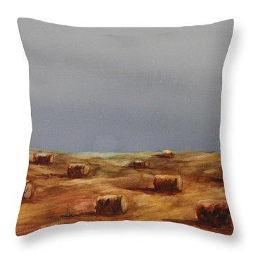 Hayfield Throw Pillow by Ruth Kamenev