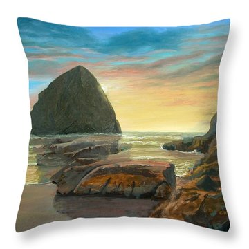 Haystack Kiwanda Sunset Throw Pillow by Chriss Pagani