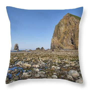 Haystack Rock 2 Throw Pillow by Mauro Celotti