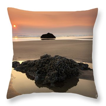 Hazy Oregon Sunset Throw Pillow by Mike  Dawson