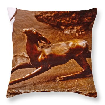 He Who Saved The Deer - Deer Detail Throw Pillow by Dawn Senior-Trask