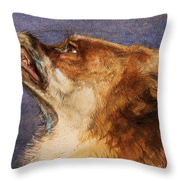 Head Of A Fox Throw Pillow by John Frederick Lewis