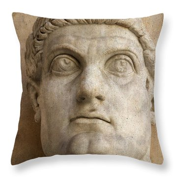 Head Of Emperor Constantine. Rome. Italy Throw Pillow by Bernard Jaubert