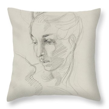 Head Of Liberty  Throw Pillow by Ferdinand Victor Eugene Delacroix