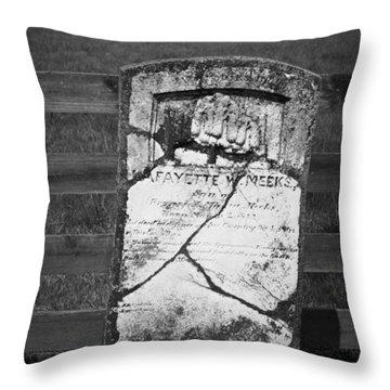 Headstone Of Lafayette Meeks Throw Pillow by Teresa Mucha