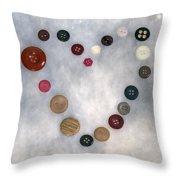 Heart Of Buttons Throw Pillow by Joana Kruse