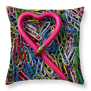 Heart Shaped Pink Pencil Throw Pillow by Garry Gay