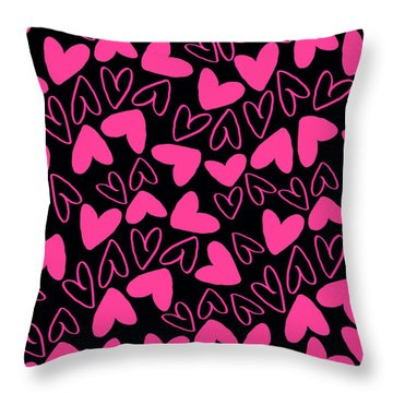 Hearts Throw Pillow by Louisa Knight