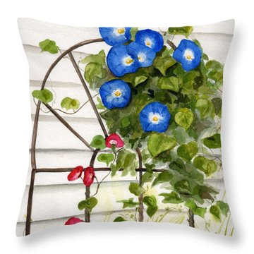 Throw Pillow featuring the painting Heavenly Blues by Nancy Patterson