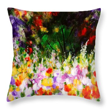 Throw Pillow featuring the painting Heavenly Garden by Kume Bryant