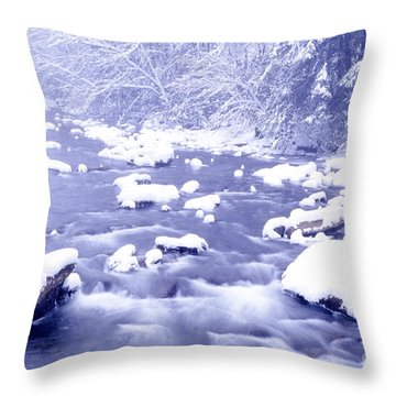 Heavy Snow Cranberry River Throw Pillow by Thomas R Fletcher