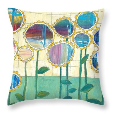 Helio Throw Pillow by Casey Rasmussen White