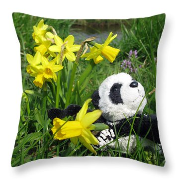 Hello Spring. Ginny From Travelling Pandas Series. Throw Pillow by Ausra Huntington nee Paulauskaite