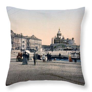 Helsinki Finland - Senate Square Throw Pillow by Bode Stevenson