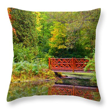 Henes Park Pond Bridge Throw Pillow
