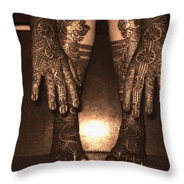 Henna Art On An Indian Bride Throw Pillow