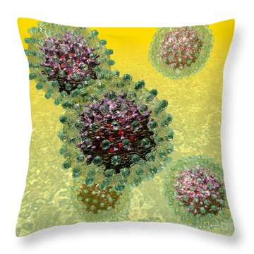 Hepatitis B Virus Particles Throw Pillow by Russell Kightley