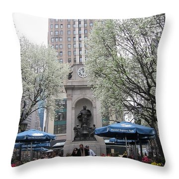 Throw Pillow featuring the photograph Herald Square by Dora Sofia Caputo Photographic Art and Design