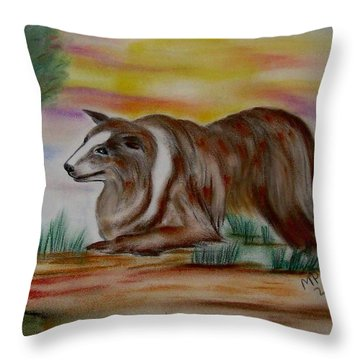 Throw Pillow featuring the drawing Herding Collie by Maria Urso