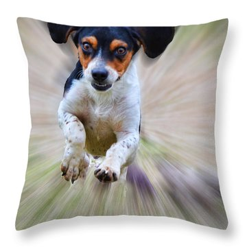 Here I Come Throw Pillow by Debbie Portwood
