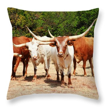 Some Long Horns Ya Got There Throw Pillow