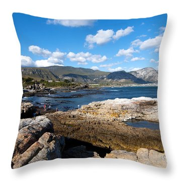 Hermanus Coastline Throw Pillow by Fabrizio Troiani