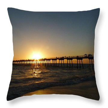 Hermosa Beach Sunset Throw Pillow
