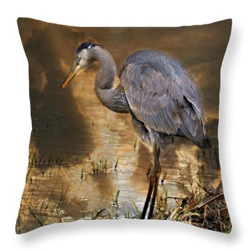 Heron Bronze Throw Pillow by Marty Koch