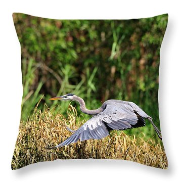 Heron Flying Along The River Bank Throw Pillow
