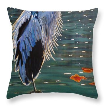Heron In Blue Throw Pillow