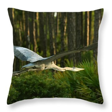 Throw Pillow featuring the photograph Heron In Flight by Rick Frost