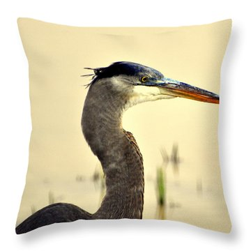 Heron One Throw Pillow by Marty Koch