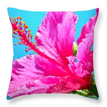 Hibiscus Crystal Luster Throw Pillow by Gwyn Newcombe