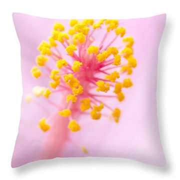 Throw Pillow featuring the photograph Hibiscus In Pink And Yellow by Anne Rodkin