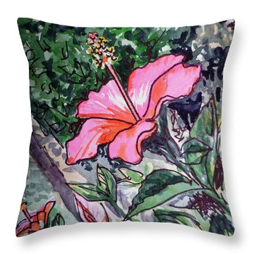 Hibiscus Sketchbook Project Down My Street  Throw Pillow by Irina Sztukowski