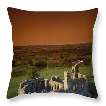 High Angle View Of An Old Ruin,with Throw Pillow by The Irish Image Collection