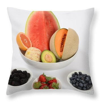 High Carbohydrate Fruit Throw Pillow by Photo Researchers, Inc.